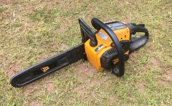 Image of a yellow JCB 42in chainsaw